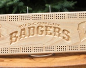 Wisconsin Badgers Cribbage Board Made From Black Ash