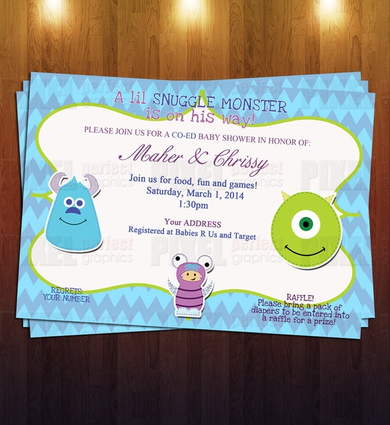 monsters inc baby shower invite ready to by pixelperfectgraphics