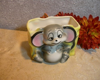 Sleepy Eye Mouse Planter Vintage Japan - With Yellow Cheese - Adorable