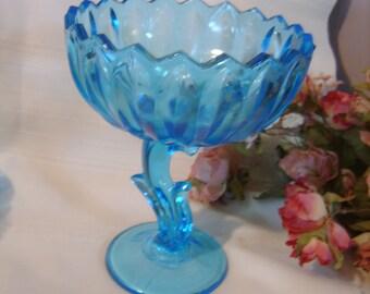 Indiana Glass Co. Capri Blue Lotus Tulip Compote