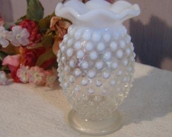 Fenton Hobnail Moonstone Opalescent Ruffled top miniature Vase