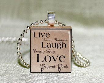 """Scrabble Jewelry - Antique """"Live Laugh Love"""" - Choose Pendant or Necklace - Live Laugh Love Jewelry - Charm  -18"""" Chain"""