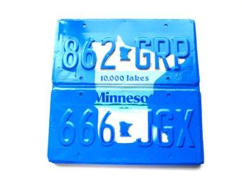 Minnesota Outline - License Plate Sign - Blue Minnesota Art - Rustic Reclaimed Sign,Mancave Sign,Bar Sign,Summer Cabin Decor,Minnesota Decor