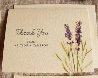 Lavender Thank You Cards Botanical Lavender Wedding