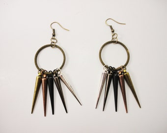 Antique Gold Hoop and Spike Earrings