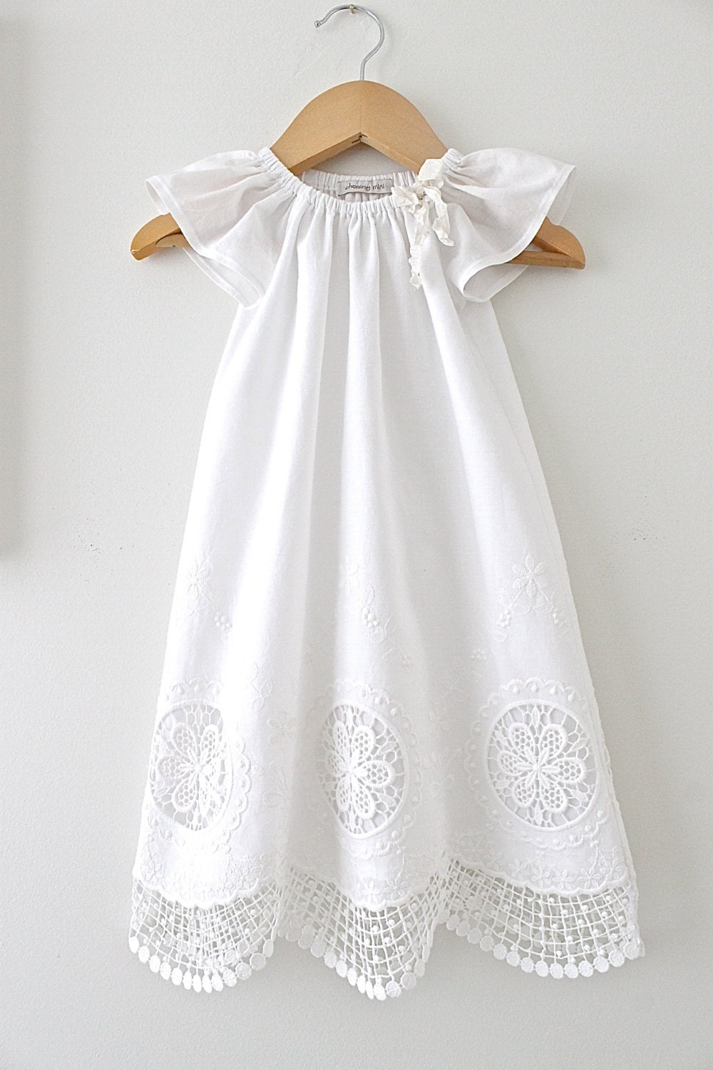 Baby Girl Long Baptism Dress Antique White And Lace Cotton