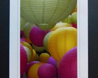 Pastel Paper Lanterns Greeting/Note Card