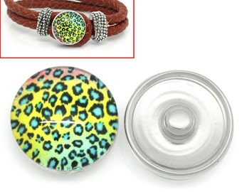 2 pieces Round Multicolor Leopard Print Pattern Glass Snap Chunk Button