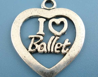 "10 Pieces Antique Silver Valentine ""I Love Ballet"" Heart Charms"
