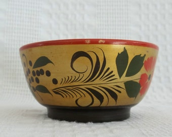 Wood bowl, wooden bowl, hand painted, hand made, Russian Folk Art, Khokhloma, decorative bowl, USSR Soviet Union, storage container, desk