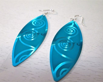 Teal aluminum earrings