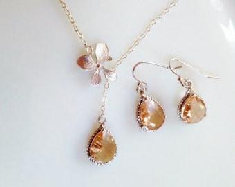 Bridesmaid jewelry set silver peach crystal necklace,orchid jewelry,silver or gold,bridesmaid gift,orchid flower necklace,silver orchid