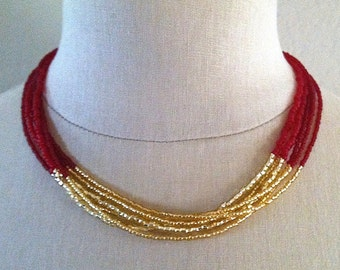 Red and gold bead multistrand necklace by Cerise Jewelry
