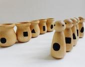 Montessori wood geometric shape peg people matching game learning toy toddler nesting toy