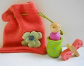 Waldorf peg doll, dragonfly, coral cashmere felted pouch toddler toy basket stuffer