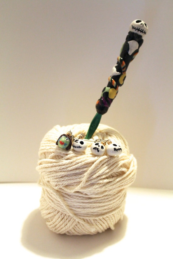 Crochet Jack Skellington : Jack Skellington Crochet Hook Stitch Marker Set by RudePoodleYarns