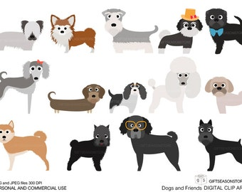 Dogs and Friends clip art part 7 for Personal and Commercial use - INSTANT DOWNLOAD