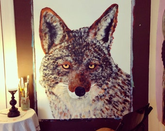 Original large scale Coyote painting by Natalie Wright Acrylic on archival paper