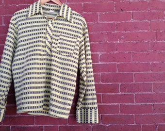 vtg 70s poly Patterned Button-up (sz M)