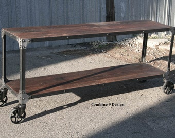 industrial cart console table mid century modern sofa table reclaimed wood and steel shelving