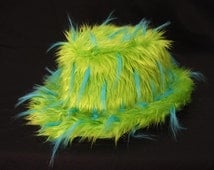 Fake Fur Fedora Lime Green/Blue Monster Spike Luxury Fur Rave Club Pimp Trilby Fur Hat Cover Halloween Christmas New Years eve dance