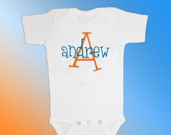 Baby Shirt Bodysuit - Personalized Monogram - Bright Orange and Blue Name - Embroidered Short or Long Sleeved - Choose Any Colors