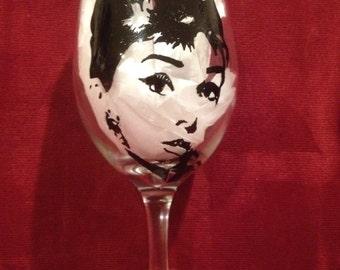Audrey Hepburn hand painted wine glass