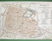 ITALY 1909 MAP - Town Plan of Brescia