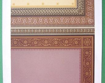 ARCHITECTURE PRINT 1868 COLOR - Ceiling Decoration in Villa of Architect Gropius