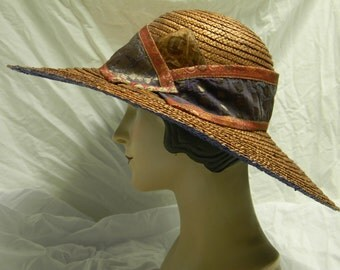 Upcycled Blue & Copper straw Brim