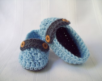 Crochet Baby Button Loafers, Light Blue and Steel Blue, 6-12 months