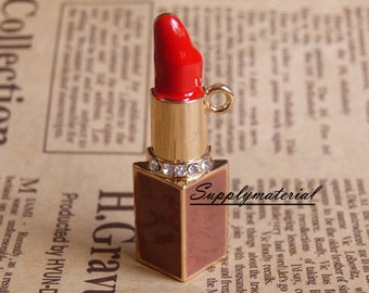 1pcs 19X54mm Fashion brown crystal 3D lipstick Charm Alloy Jewelry accessories for DIY Phone deco