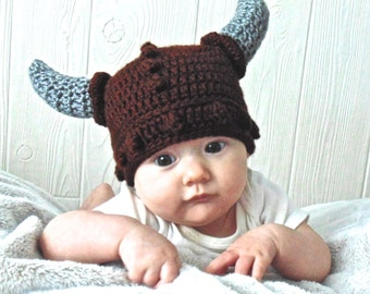 Brown Crochet Viking Baby Hat with Horns Photo Prop