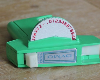 Vintage Dymo 1720 Label Maker Lime Green 1970s