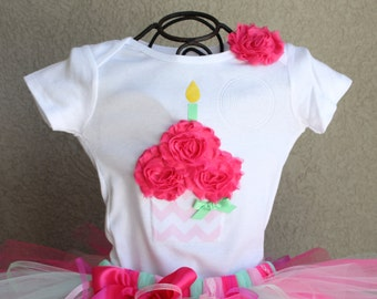 PINK MINT PARTY--Birthday Cupcake Bodysuit or Shirt Only, sizes Newborn-5T