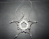 Silver and Pearl Beaded Star Ornament