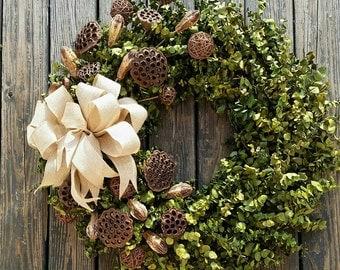 Wreath -  36 inch Dried Flower Wreath  -  Eucalyptus Wreath
