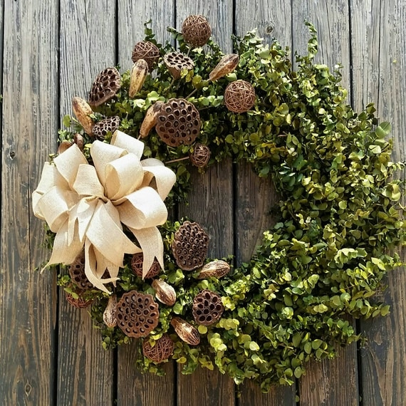 Wreath -  36 inch Dried Flower Wreath  -  Eucalyptus Wreath
