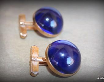 Vintage 1970s Moon Blue Bubble GoldTone Cufflink, Retro Midnight Moon Blue Bubble Shape Button Style Goldtone Setting Cufflink-Free Shipping