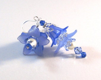"""Carolina Blue & Silver """"Fairy"""" Flower Earrings, Blue Jewelry, Blue Earrings, Fairy Jewelry, Flower Jewelry, Womens Fashion, Gifts for her"""