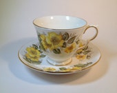 English Teacup and Saucer Royal Vale Bone China Made in England, Bone China Teacup & Saucer