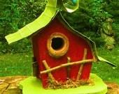 Birdhouse in color options, custom birdhouse, garden, garden art, gift, unique, Whimsical Birdhouse, original
