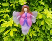 Needle felted Fairy, Waldorf Inspired, Fuschia