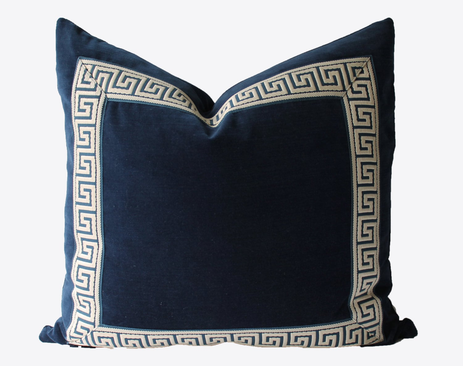 Decorative Greek Key Pillow Indigo Navy Blue Velvet