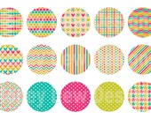 Instant Download - Digital Collage Sheet - 1inch circles - 011