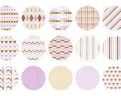 Instant Download - Digital Collage Sheet - 1inch circles - 033