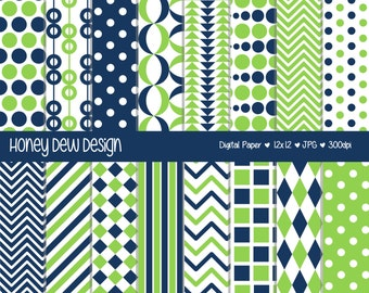 Instant Download - Digital Paper Pack 321 - Blue and Green Patterned Paper