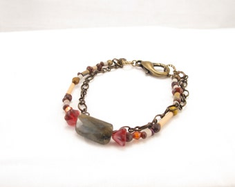 Bracelet with labradoite, bamboo, jasper and marble beads   Brass chain