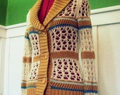 Vintage 70s Crochet Sweater With Buttons and Stripes