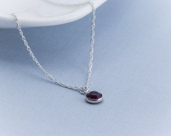 Birthstone Necklace - Personalized Necklace w/ Initial Charm